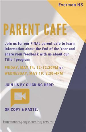 Parent Cafe for May